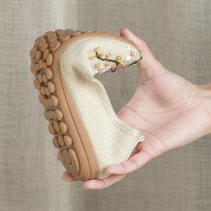 Frauen-beiläufige Ballerinas Stickerei Vintage-runde Zehe-Baumwollgewebe-Beleg auf Damen flache Schuhe Chaussures Femme Loafers Mokassins