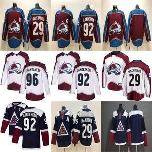Colorado Avalanche Jersey 29 Nathan MacKinnon jerseys 92 Gabriel Landeskog 96 Mikko Rantanen Armada azul del hockey para hombre cosido jerseys
