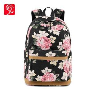 Stampa Zaino femminile Donne Floral Charging USB Laptop Zaini Scuola Borse per ragazze Adolescenti Borsa di tela