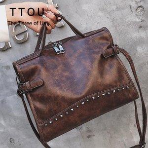 TTOU Rivet Vintage PU кожа сумка моды сумка мешок плеча женщин Larger Топ-ручки Сумки для путешествий Tote Женский