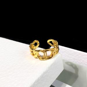 Marcas diseños anillos de acero inoxidable C carta de lujo 18 K chapado en oro amantes anillos mujeres anillo chapado en oro joyería