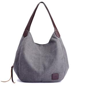Bolsa de hombro bolso de la manera del bolso del nuevo estilo de múltiples compartimentos lienzo mujeres con estilo versátil de Corea del estilo artístico simple grande