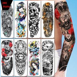mangas 260 Estilos completos Tatuagens temporárias 3d impermeável Tattoo Etiqueta Festival partido Personalidade adesivo arte braço corpo tatuagem 48 * 17 centímetros