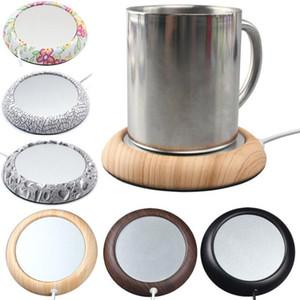 6 couleurs USB Grain de bois Chauffe-tasse de chaleur boissons tasse boisson chaude Mat Gardez chauffe-tasses de café de thé Tasses Coaster pour la maison Bar