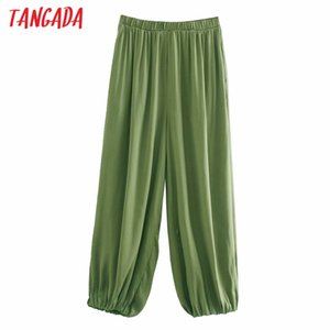 Tangada women green long pants trousers vintage style strethy waist lady pants pantalon 4M224