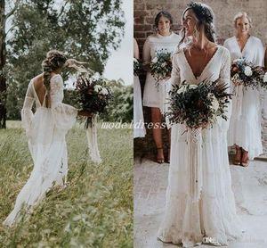 2020 Bohemian Gelinlik V Yaka Uzun Kollu Dantel Sweep Tren Plaj Boho Garden Country Gelinlik elbise de mariée Artı boyutu