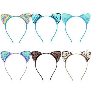 INS bonito Ear Glitter Sequins Cat hairband Meninas reversível lantejoulas Cabelo Mulheres Headress Partido Fecho Headband Cabelo Hoop caçoa favores D3401 quente