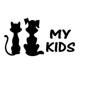 16 * 8.5 CM Benim Çocuklar Kedi Ve Köpek Sevimli Kişilik Araba Styling Vinil Çıkartması Araba Sticker Siyah / Gümüş CA-1257