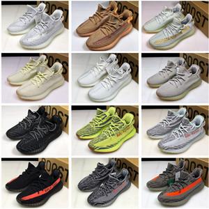 Kanye West V2 Erkek Ayakkabı V2 Statik Refective Kil Gerçek Formu Hiperuzay Zebra Yarı Erkek Kadın Ayakkabı Spor Sneakers Boyut 36-45 Koşu