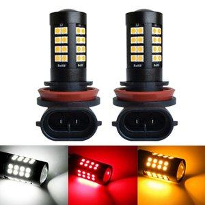 10PCS 슈퍼 밝은 자동차 H8 H11 자동차 전면 안개 램프 전구 6000K 22W 자동 주간은 조명 전구 흰색 노란색 빨간색 12V를 실행했다