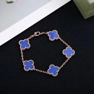 Classic 316L Titanium Stainless Steel Shell Clover bracelets with black agate four-leaf clover for women Silver 18k Rose Gold Flower bracele
