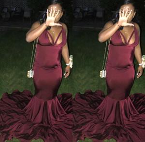 Afrikanische billige burgund schwarze mädchen mermaid prom kleider satin sexy bodenlangen formale kleid party tragen ogstuff robe de soiree