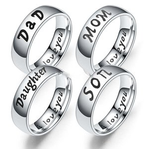 I Love you Ring Stainless Steel Dad Mom Son Daughter Ring Bang Ring women mens rings Fashion Jewelry Will and Sandy gift