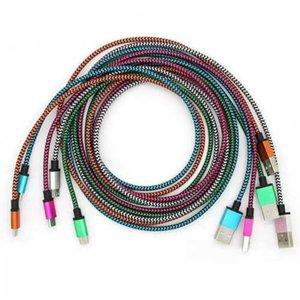 1M 3FT 2M 6FT 3M 10FT Weave ricarica Cavi tessuto filo intrecciato fibra di dati di sincronizzazione nylon lavorato a maglia Micro Tipo C carica cavi per telefoni cellulari