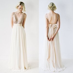 Rose Gold Top Sequin Prom Dresses with Bow V-Neck Junior Pretty Long Chiffon Backless V-neck Cheap Evening Party Dress
