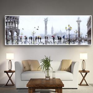 Abstract City Rain Street Scene Pittura ad olio su tela Paesaggio Edifici Cuadros Poster e stampe Wall Art for Living Room
