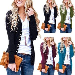 V yaka Düğme Örgü T-Shirt Kadın Katı Uzun Kollu Ceket kazak Hırka Rahat Dış Giyim Gömlek sonbahar kış kint Hırka LJJA3061