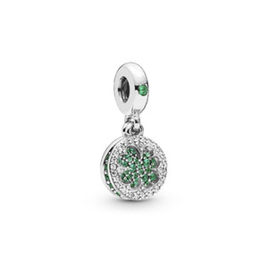 Green Crystal Alloy Charm Bead Clover Dangle Fashion Women Jewelry Stunning European Style For DIY Bracelet