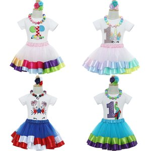 miúdos das crianças Roupa para meninas outfits cabeça + colar + top + Tutu malha saias 4pcs / set 2020 verão bebê Roupa Define Z0153