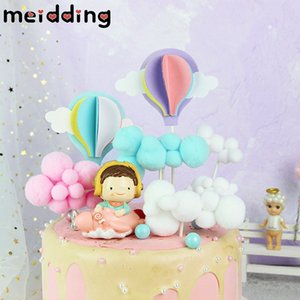 Cartoon Hot Balloon Cloud Cake Topper Rainbow Cupcake Topper Decoration Baby Shower Kids Birthday Party Wedding Favor Supplies