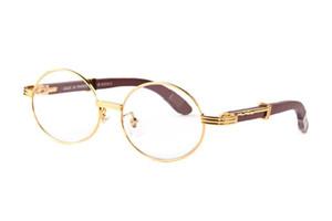 Großhandel-Designer-Sonnenbrille für Frauen voll randlose Herren Büffelhorn Brille mit runder Linse Gold Metall Büffel Sonnenbrille mit Etui