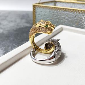 Горячая распродажа мода леди латунь полный алмаз леопардовый пантера свадьба привлечение 18K позолоченные открытые кольца 2 цвета один размер