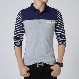 Kasetli Uzun Kollu Artı boyutu Mens Polos Casual Erkek Giyim Çizgili Kasetli Erkek Tasarımcı Polos Moda Düğmeler