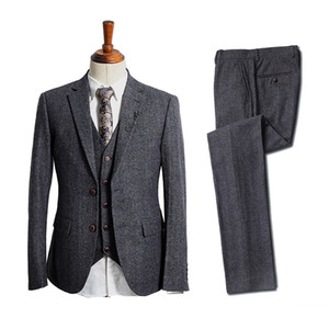 Classy Wool Wedding Tuxedo 2020 Dark Gray Tweed Herringbone Pockets Groom Wear Men's Suit Vests Groomsmen Outfit Slim Fit Men's In Stock