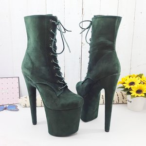 Leecabe DarkGreen 20CM 8inches Pole dancing shoes High Heel platform Boots closed toe Pole Dance booties