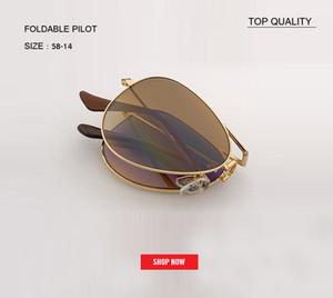 2019 Grado superior Marco de metal Gafas de sol plegables vintage Mujeres Diseñador de marca Hombres Conducir gradiente plegable rd3479gafas uv400 Gafas de sol de piloto