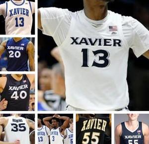 Personalizzato Xavier Musketeers 0 Tyrique Jones 1 Paul Scruggs 2 Kyle Castlin 13 Naji Marshall 32 Ryan Welage pallacanestro Mens cucita Jersey