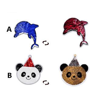 Moda golfinhos manchas Panda do Natal frente e verso mudança aba Lantejoulas Patches para a roupa Decoração Costura Acessórios Crafts LP023