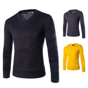 V Neck manga comprida de lã Mens Sweater Outono Pullover sólido Mens Cor Designer Knit Masculino Vestuário