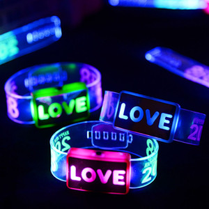 Bracelets Haoxin poignet Led danse Led Light Up Jouets Glow heureux Bracelet clignotant Bracelet Toy Christmas Festival Party Supplies événement