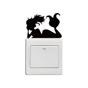 KG-241 Mermaid Laying On Light Switch Sticker Cartoon Mermaid Wall Stickers