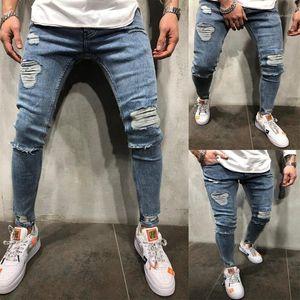 Calças Designer longo trecho lápis mediana cintura Zipper Mens Calças Mens Blue Hole Jeans Moda