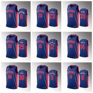 DetroitPistonsMen Derrick Rose Blue 2019-20 Basketball Jersey Luke Kennard Christian Wood Blake Griffin Langston Galloway Frazier