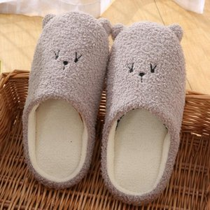Indoor Warm Women Slippers Cute Animal Bear Winter Fur Home Shoes Female Girl Memory Foam Cotton House Slippers Slides A40
