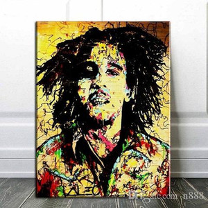 Pura pintada à mão Retrato Alec Monopoly Graffiti Art Pintura a óleo Bob Marley na lona, multi tamanhos / Frame Opção G266 200313 n888