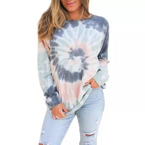 Pus Tamanho Womens Casual Tie Dye Imprimir manga comprida em torno do pescoço Camisetas Blusas pulôver leve camisola Tops Fit Descontraído
