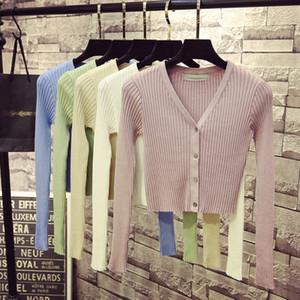 Primavera recién Patchwork mujeres Cardigans 2019 moda Delgado señoras suéter de punto manga larga botones suéter Sueter Mujer