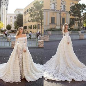 2020 세련된 공주 웨딩 드레스와 긴 기차 오프 숄더 아플리케 레이스 캐스 케이 딩 프릴이 신부 가운 기차 로브 드 Mariée 스윕