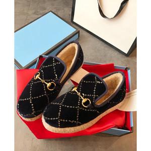 Las mujeres de lana marca Bocado textura del holgazán de las telas de caucho Media suela plana zapatos caseros Deisgner señora en la salida Tweed Ruta Mocasín con la caja