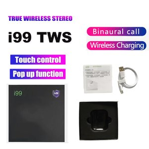 LED Digital Display 5.0 Bluetooth Headphone i99 TWS Wireless Earbuds Stereo Support pop-up window Wireless Charging headset
