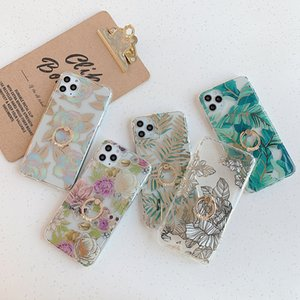 Gold Bronzing Rose Flower Diamond Ring Stand Cases For iphone 11 11Pro X XR XS Max 7 8Plus 6S Clear Soft Phone Case Cover
