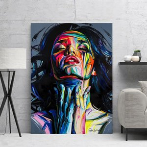 1 PC를 추상 포스터 예술 여성 캔버스 오일 다채로운 인쇄 극적 장면 벽화 벽 그림 캔버스 Cuadros Decoracion Dormitorio 회화