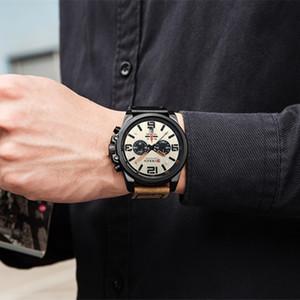 Relogio Masculino Mens Uhr-Spitzenmarken-Luxuxmänner Military-Sport-Armbanduhr-Leder-Quarz-Uhr erkek saat Curren 8314