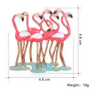 Новый брошь животных Европейский и американский мода сплава цвет капает фламинго корсаж женские аксессуары ювелирные изделия 4. 6x4. 8 см