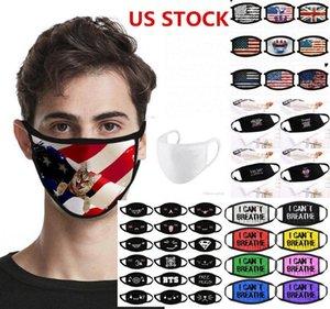 Máscara de EE.UU. diseñador Stock anti polvo negro Vidas La materia que no puede respirar por máscaras de la bandera de algodón de dibujos animados Ciclismo Trump Águila lavable de tela reutilizables