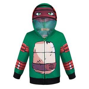 Bibihou más nueva llegada caliente muchachos del niño para niños niñas largo de Ninja tortuga verde del traje de la manga de la chaqueta con capucha Escudo wholesaleouterwear